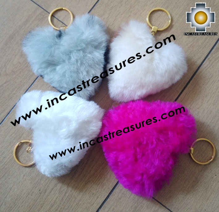 Alpaca Fur Souvenirs Hearts Keyrings - 100% Baby Alpaca