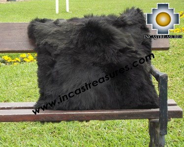 100% Baby Alpaca Cushion Both Sides Premium SURI Black - Product id: Alpaca-cushion12-09black Photo04