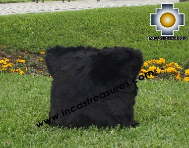 100% Baby Alpaca Cushion Both Sides Premium SURI Black - Product id: Alpaca-cushion12-09black Photo03