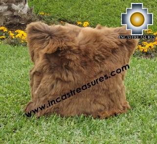 100% Baby Alpaca Cushion one side SURI white - Product id: Alpaca-cushion12-04brown Photo01