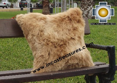 100% Baby Alpaca Cushion both sides Premium SURI Black - Product id: Alpaca-cushion12-12camel Photo04