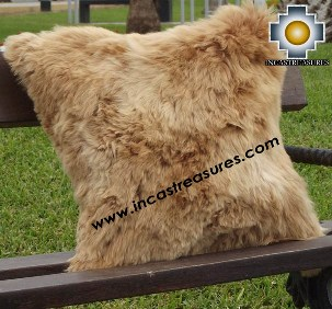 100% Baby Alpaca Cushion both sides Premium SURI Black - Product id: Alpaca-cushion12-12camel Photo03