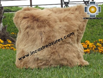 100% Baby Alpaca Cushion both sides Premium SURI Black - Product id: Alpaca-cushion12-12camel Photo01