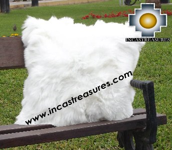 100% Baby Alpaca Cushion Both Sides Premium SURI White - Product id: Alpaca-cushion12-08white Photo04