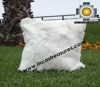 100% Baby Alpaca Cushion Both Sides Premium SURI White - Product id: Alpaca-cushion12-08white Photo02