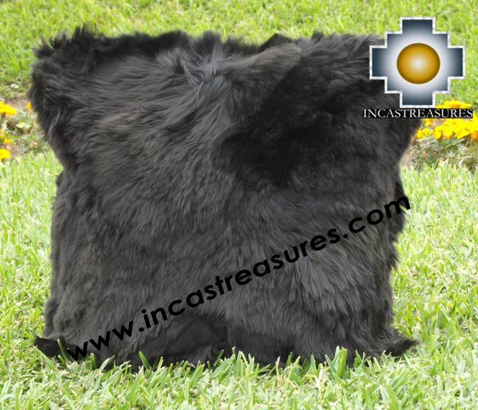 100% Baby Alpaca Cushion Both Sides Premium SURI Black - Product id: Alpaca-cushion12-09black