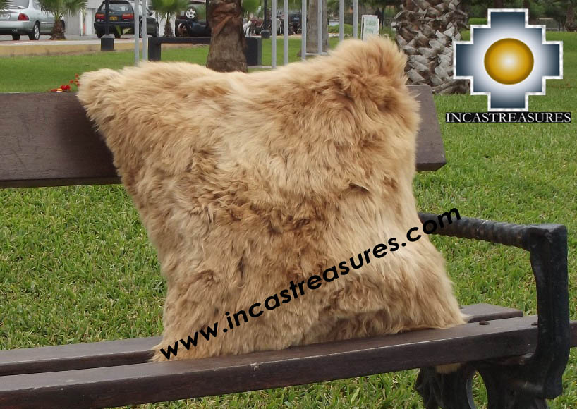 100% Baby Alpaca Cushion both sides Premium SURI Black - Product id: Alpaca-cushion12-12camel