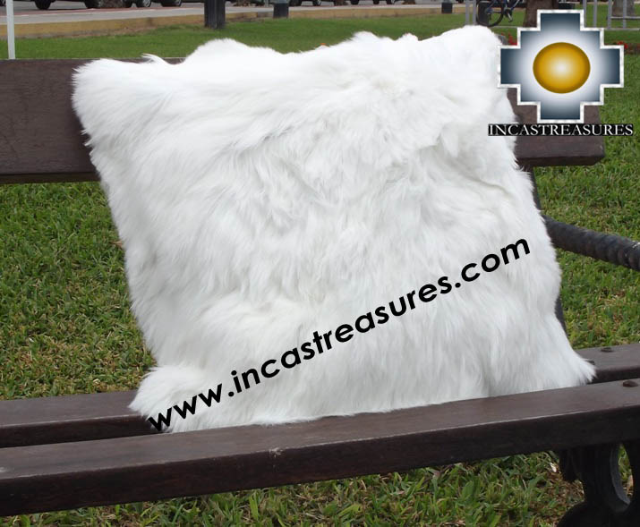 100% Baby Alpaca Cushion Both Sides Premium SURI White - Product id: Alpaca-cushion12-08white