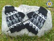 100% Alpaca Wool Fingerless Gloves with Llama Designs black  - Product id: ALPACAGLOVES09-25 Photo01
