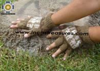 100% Alpaca Wool Fingerless Gloves with Llama Designs camel  - Product id: ALPACAGLOVES09-26 Photo02