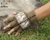 100% Alpaca Wool Fingerless Gloves with Llama Designs camel  - Product id: ALPACAGLOVES09-26 Photo03