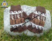 100% Alpaca Wool Fingerless Gloves with Llama Designs chocolate  - Product id: ALPACAGLOVES09-27 Photo03