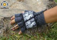 100% Alpaca Wool Fingerless Gloves with Llama Designs gray  - Product id: ALPACAGLOVES09-28 Photo03