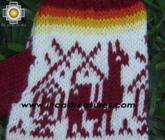 100% Alpaca Wool Fingerless Gloves with Llama Designs Red  - Product id: ALPACAGLOVES09-33 Photo02