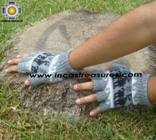100% Alpaca Wool Fingerless Gloves with Llama Designs silver  - Product id: ALPACAGLOVES09-31 Photo02