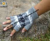 100% Alpaca Wool Fingerless Gloves with Llama Designs silver  - Product id: ALPACAGLOVES09-31 Photo03