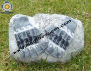 100% Alpaca Wool Fingerless Gloves with Llama Designs silver  - Product id: ALPACAGLOVES09-31 Photo01