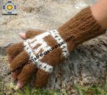 100% Alpaca Wool Fingerless Gloves with rustic Designs brown  - Product id: ALPACAGLOVES09-29 Photo03