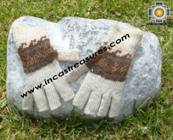 100% Alpaca Wool Fingerless Gloves with rustic Designs cream  - Product id: ALPACAGLOVES09-30 Photo03