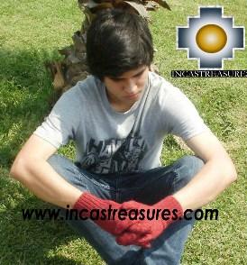 100% Alpaca Wool gloves burgundy - Product id: ALPACAGLOVES09-06 Photo02