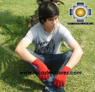 100% Alpaca Wool gloves red - Product id: ALPACAGLOVES09-06 Photo01