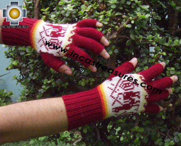 Alpaca Fingerless Gloves with designs