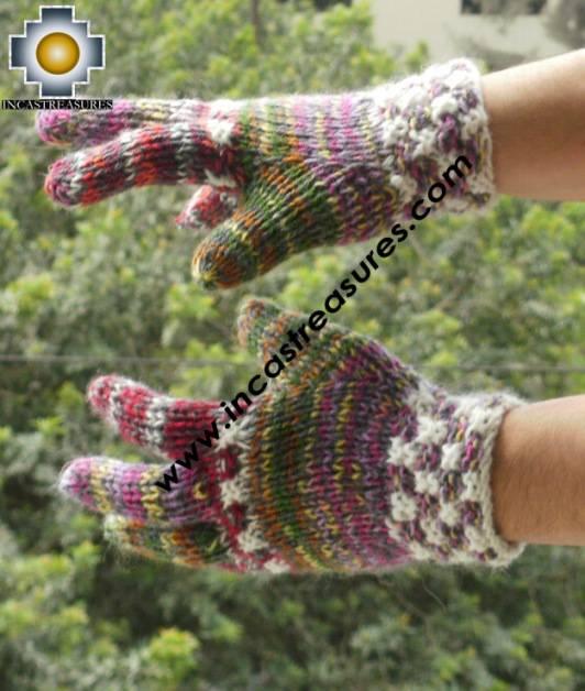Alpaca Wool Hand Knit Mittens gloves chunka - Product id: ALPACAGLOVES09-54Photo01
