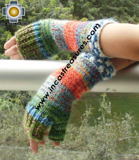 Alpaca Wool Hand Knit Mittens gloves chunka - Product id: ALPACAGLOVES09-56Photo02