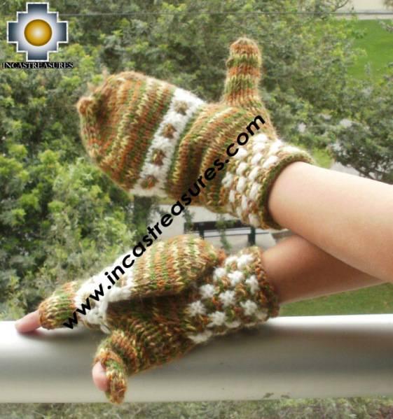 Alpaca Wool Hand Knit Mittens gloves tawa - Product id: ALPACAGLOVES09-46 Photo02