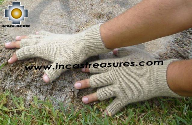 100% Alpaca Wool Fingerless Gloves camel  - Product id: ALPACAGLOVES09-22 Photo02