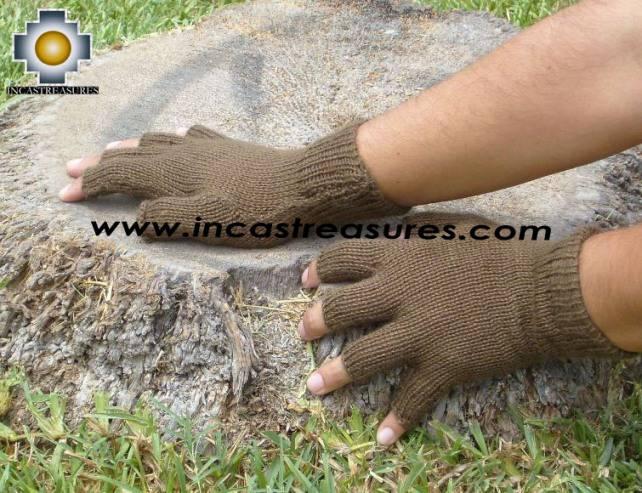 100% Alpaca Wool Fingerless gloves Earth