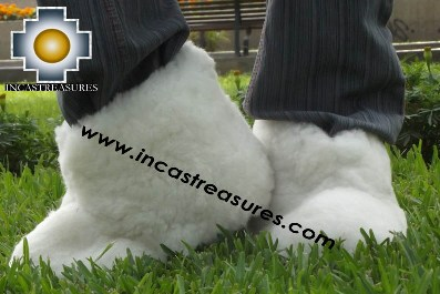 LAMB INSIDE - Baby Alpaca Slipper White Yeti - Product id: ALPACASLIPPERS13-01 Photo01