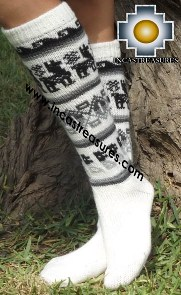 Long Alpaca Socks Llamas White - Product id: ALPACASOCKS13-04 Photo02