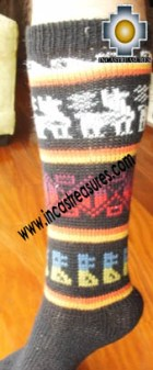 Long Alpaca Socks Llamas Black - Product id: ALPACASOCKS12-01 Photo02