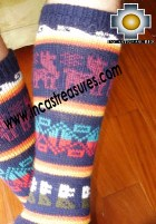 Long Alpaca Socks llamas blue - Product id: ALPACASOCKS12-02 Photo02