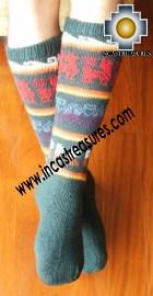 Long Alpaca Socks llamas green - Product id: ALPACASOCKS12-03 Photo03