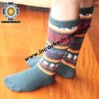Long Alpaca Socks llamas green - Product id: ALPACASOCKS12-03 Photo01