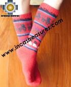Long Alpaca Socks llamas red - Product id: ALPACASOCKS12-06 Photo03