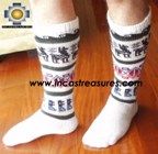 Long Alpaca Socks llamas white - Product id: ALPACASOCKS12-08 Photo03