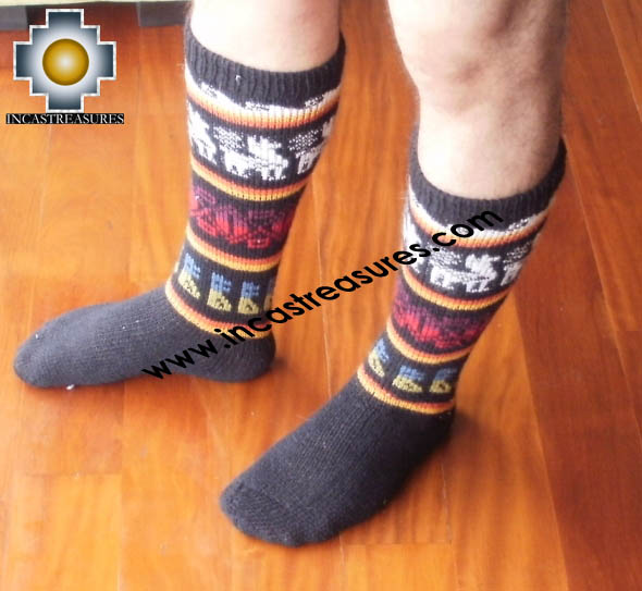 Long Alpaca Socks Llamas Black - Product id: ALPACASOCKS12-01