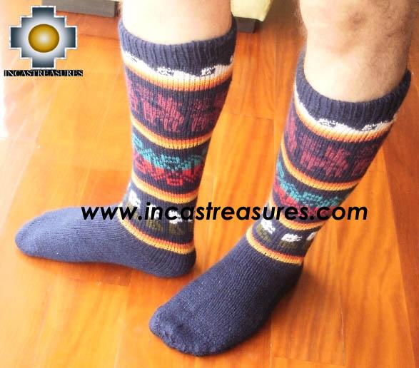 Long Alpaca Socks llamas blue - Product id: ALPACASOCKS12-02