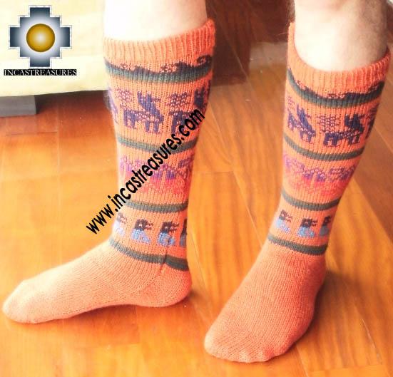 Long Alpaca Socks llamas orange - Product id: ALPACASOCKS12-04