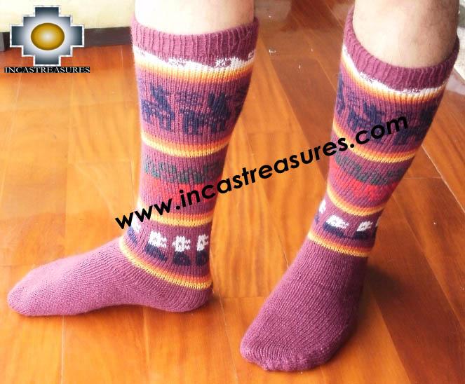 Long Alpaca Socks llamas purple - Product id: ALPACASOCKS12-05