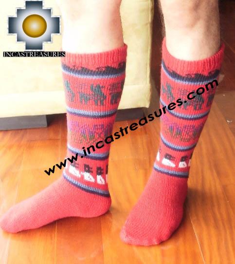 Long Alpaca Socks llamas red - Product id: ALPACASOCKS12-06