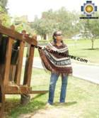 Alpaca Poncho short stripes UNISEX  - Product id: ALPACA-PONCHO09-07 Photo01