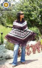 Alpaca Poncho short stripes UNISEX  - Product id: ALPACA-PONCHO09-08 Photo01