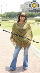 Alpaca Poncho short stripes UNISEX  - Product id: alpaca-poncho09-10 Photo03