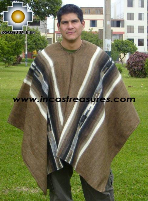 Alpaca Poncho Hualhua brown UNISEX  - Product id: ALPACA-PONCHO09-02