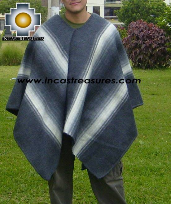 Alpaca Poncho Hualhua gray UNISEX  - Product id: ALPACA-PONCHO09-03 Photo01