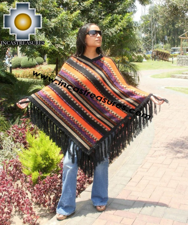 Alpaca Poncho long achachila UNISEX  - Product id: alpaca-poncho09-11 Photo01